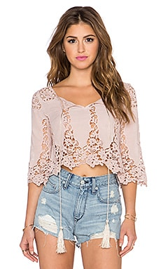 LIV Alexa 3/4 Peasant Top in Nude