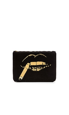 Lauren Moshi Gem Foil Cig Lip iPad Clutch in Black