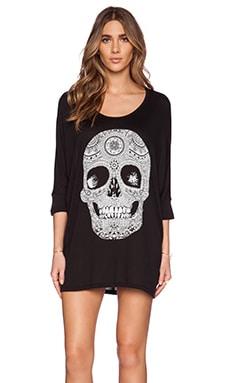 Lauren Moshi Milly 3/4 SLV Oversized Pattern Skull Dress in Black