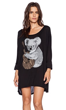 Lauren Moshi Milly 3/4 SLV Oversized Koala Dress in Black