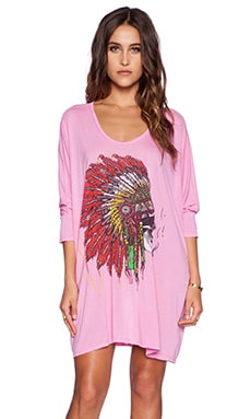 Lauren Moshi Milly Skull Headdress 3/4 SLV Oversized Dress in Pink