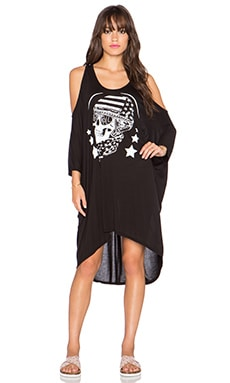 Lauren Moshi Gayle Skull Helmet Open Shoulder Dress in Black