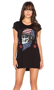 Lauren Moshi Lana Color Skull Helmet Mini Tee Dress in Black