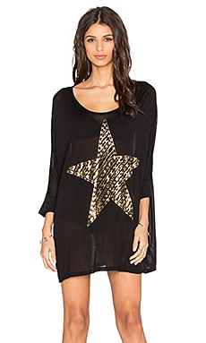 Lauren Moshi Milly Foil Stripe Chain Star Dress in Black