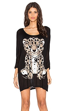 Lauren Moshi Milly Large Tan Heart Leopard Dress in Black