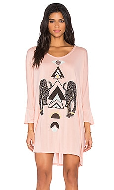 Milly Large Sun Panthers Dress in Taupe Pink