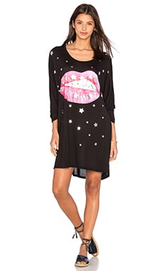 Lauren Moshi Milly Shooting Star Lip Oversized Dress in Black