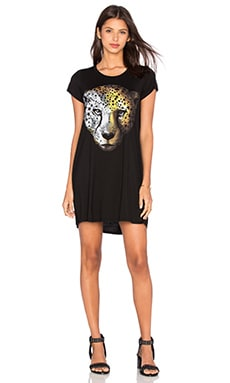 Lauren Moshi Lana Color Star Leopard Shirt Dress in Black