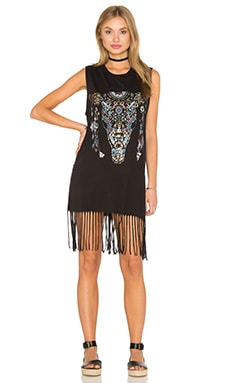 Lauren Moshi Gin Tank Fringe Dress in Onyx