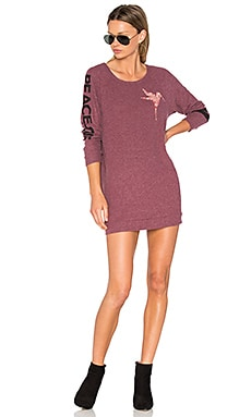 Bel Long Sleeve Pullover Sweatshirt Dress in Sangria