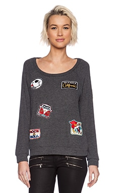 Lauren Moshi Brenna Color Patch Combo Pullover in Black