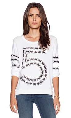Lauren Moshi Brenna Chain 5 Longsleeve Pullover in White