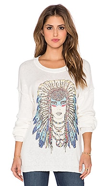 Lauren Moshi Chantel Tribal Goddess Boyfriend Sweater in Natural