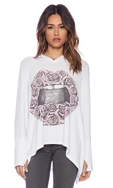 Lauren Moshi Wilma Pink Rose Lip Oversized Hoodie in White