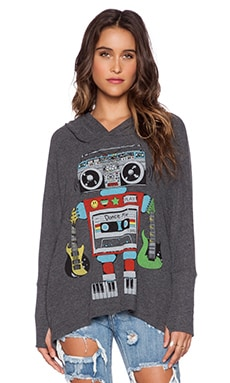 Lauren Moshi Wilma Robot Oversized Pullover With Hood in Black