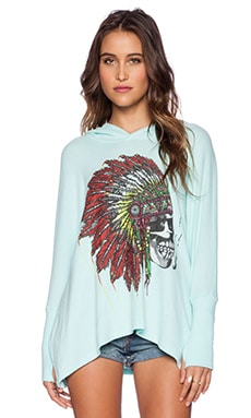 Lauren Moshi Wilma Skull Headdress Oversized Pullover With Hood in Light Mint