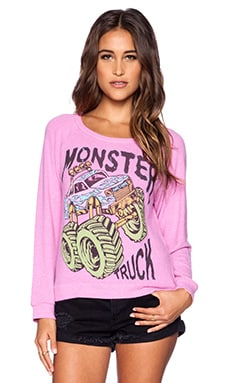 Lauren Moshi Neon Monster Truck Brenna Sweatshirt in Pink Shortcake