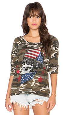 Lauren Moshi Brenna Color Skull Helmet Sweatshirt in Camo