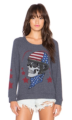 Lauren Moshi Brenna Color Skull Helmet Sweatshirt in Navy