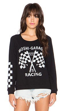 Lauren Moshi Brenna Moshi Racing Sweatshirt in Jet Black