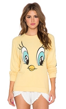 Lauren Moshi Lovie Tweety Face Boyfriend Sweatshirt in Pineapple