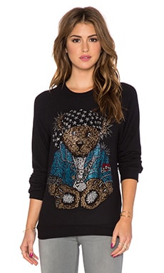 Lauren Moshi Lovie Crystal Rocker Teddy Boyfriend Sweatshirt in Jet Black
