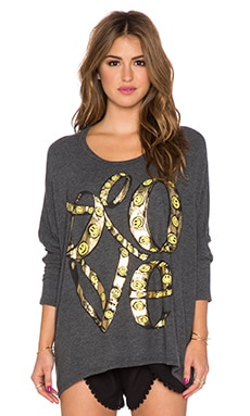 Lauren Moshi Mira Large Happy Love Oversized Sweatshirt in Black