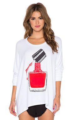 Lauren Moshi Mira Nail Polish Oversized Sweatshirt in White