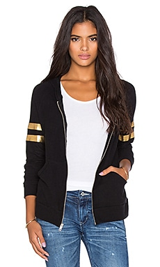 Lauren Moshi Wit Foil Chain Happyface with Stripes Zip Up Hoodie in Jet Black