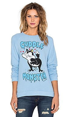 Lauren Moshi Lovie Cuddle Monster Boyfriend Pullover in Vintage Blue