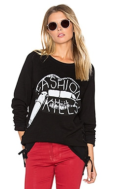 Kass Lace Up Pullover in Black