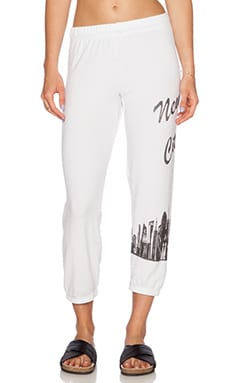 Lauren Moshi NYC Girl Alana Crop Sweatpant in White