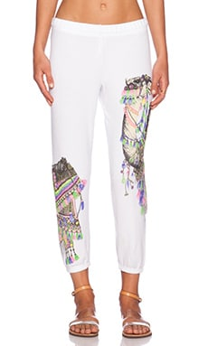 Lauren Moshi Camel Alana Crop Sweatpant in White