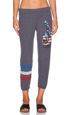 Lauren Moshi Peace Alana Crop Sweatpant in Navy