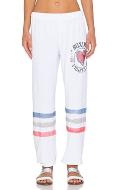 Lauren Moshi Boxing Color Tanzy Sweatpant in White