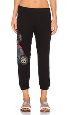 Lauren Moshi Alana Color Juice Bear Crop Sweatpant in Jet Black