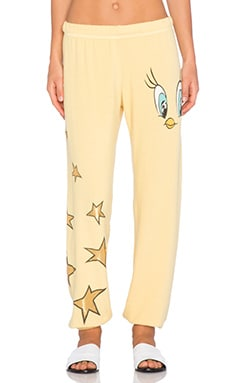 Lauren Moshi Tanzy Tweety Mini Star Leg Sweatpant in Pineapple