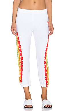 Lauren Moshi Alana Rainbow Heart Crop Sweatpant in White