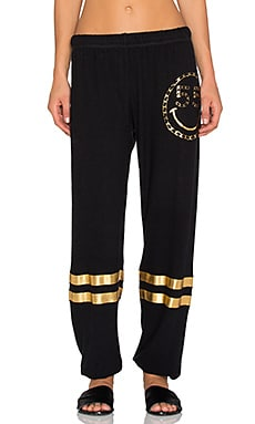 Lauren Moshi Foil Chain Happyface Leg With Stripes Pant in Jet Black