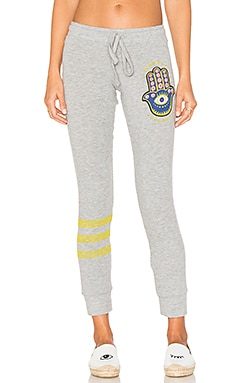 Kizzy Hamsa Eye Sweatpant in Heather Grey
