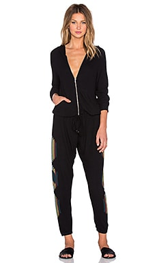 Lauren Moshi Indy Tribal Peace Long Sleeve Zip Up Jumpsuit in Jet Black