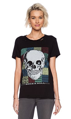 Lauren Moshi Jon Rock Skull Boyfriend Tee in Black