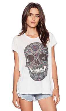 Lauren Moshi Edda Pattern Skull Vintage Tee Roll Up in White