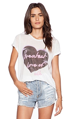 Lauren Moshi Edda Greatest Love Vintage Tee Roll Up in White