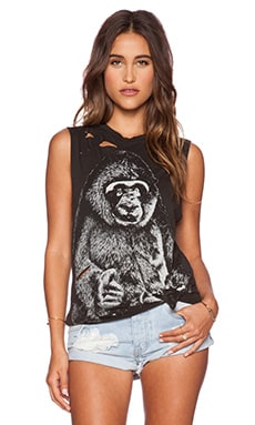 Lauren Moshi Gorilla Roxane Muscle Tee in Faded Black