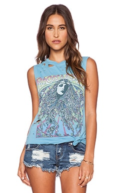 Lauren Moshi Peace & Love Girl Roxane Muscle Tee in Blue Chill