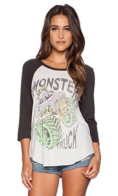 Lauren Moshi Neon Monster Truck Maglan Raglan Tee in White & Vintage Black