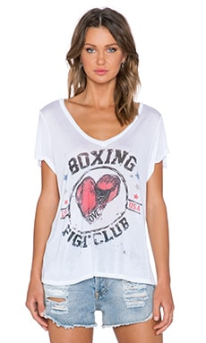 Lauren Moshi Boxing Becca V Neck Tee in White