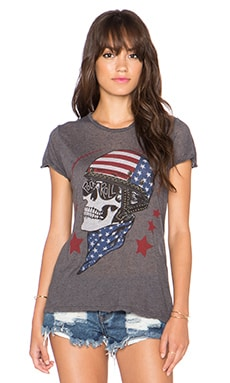 Lauren Moshi Edda Color Skull Helmet Vintage Tee in Double Black