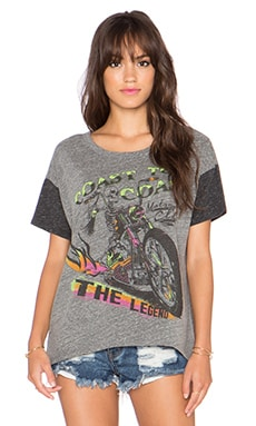 Lauren Moshi Bev The Legend Drop Shoulder Tee in Heather Grey & Charcoal